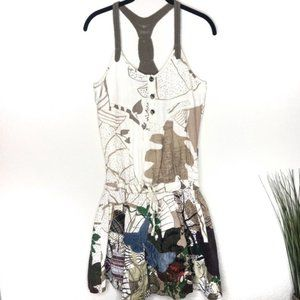 Desigual 100% Linen Embroidered Patches Mini Dress